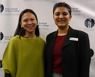 Guest speaker Maria Co with NZTC Health and Wellbeing Team Lead Mehak Kapoor NZTC.jpg